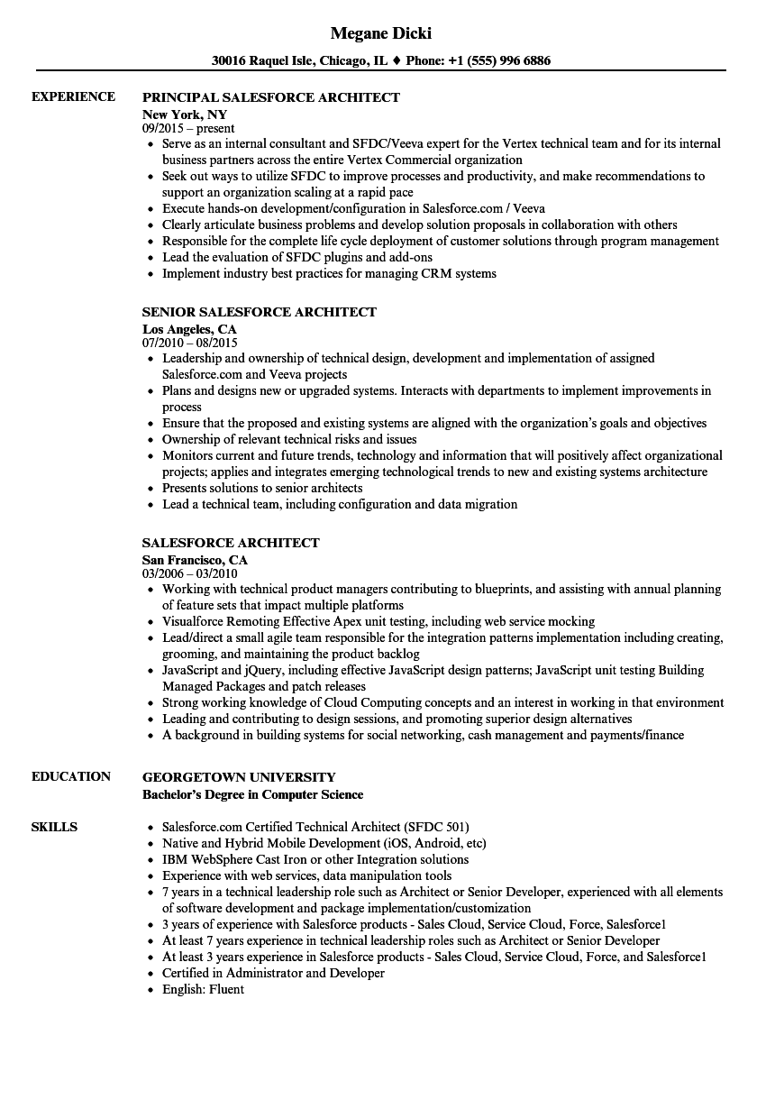 salesforce architect resume samples