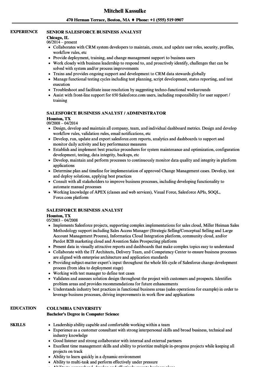 Salesforce Business Analyst Resume Samples Velvet Jobs