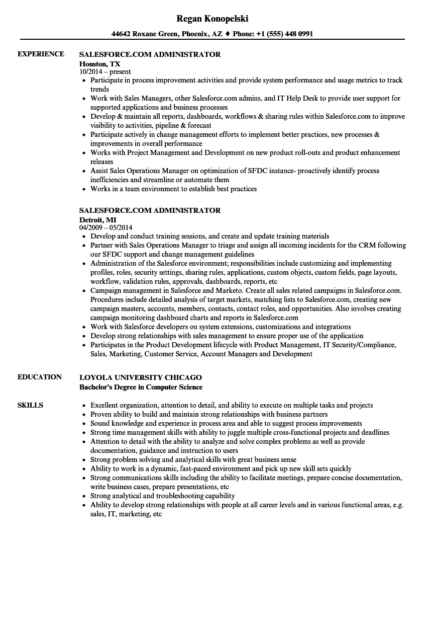 Salesforce com Administrator Resume Samples | Velvet Jobs