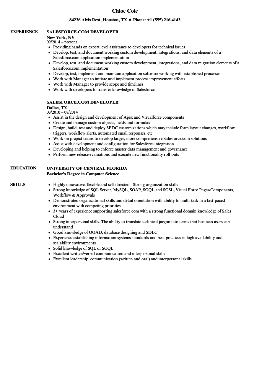 salesforce com developer resume samples