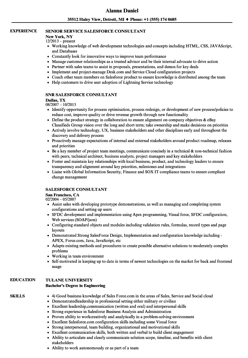 Salesforce Consultant Resume Samples | Velvet Jobs