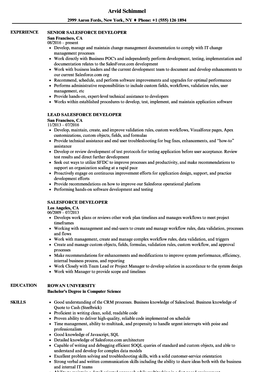 Salesforce Developer Resume Samples Velvet Jobs