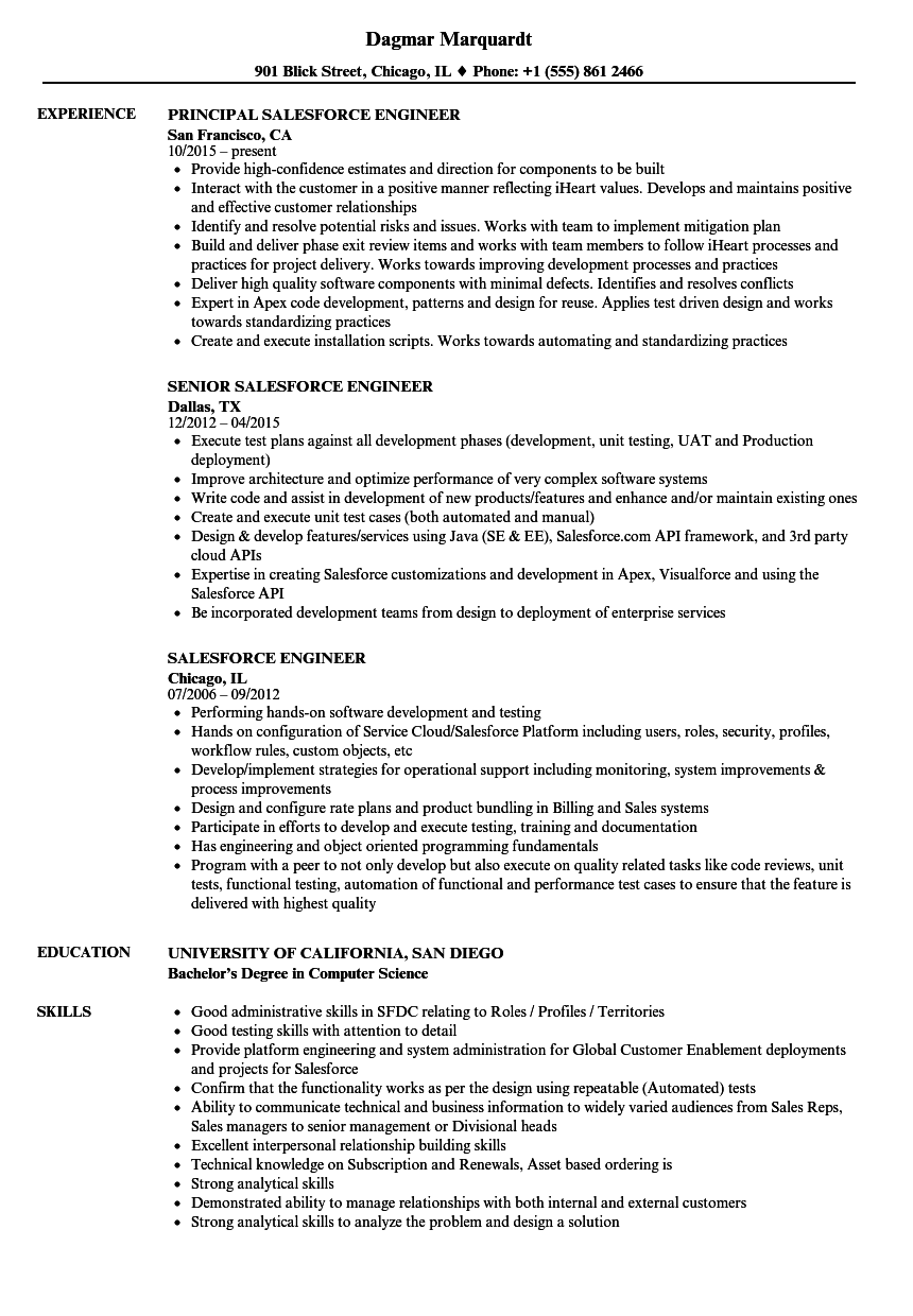 Download Salesforce Engineer Resume Sample As Image File