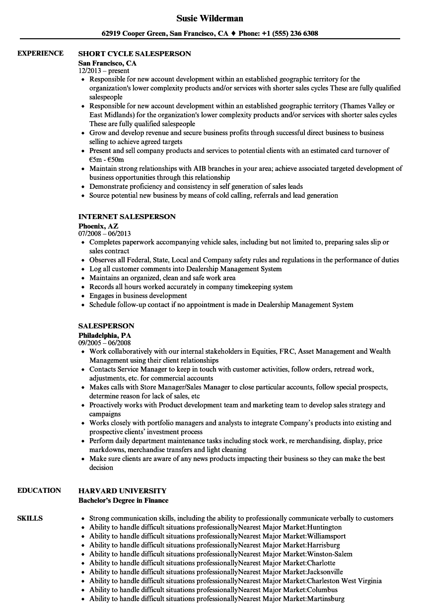 salesperson resume sample bijeefopijburgnl