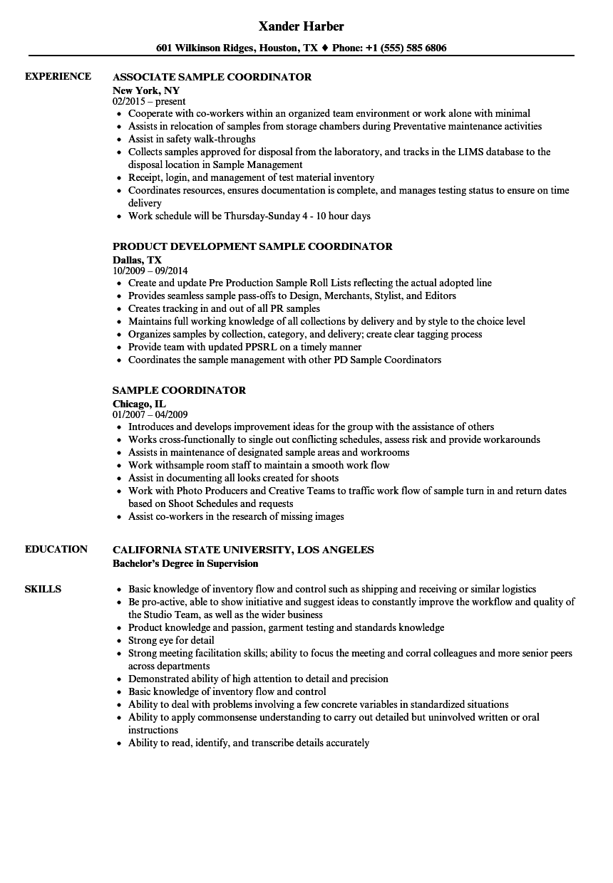 Sample Coordinator Resume Samples | Velvet Jobs