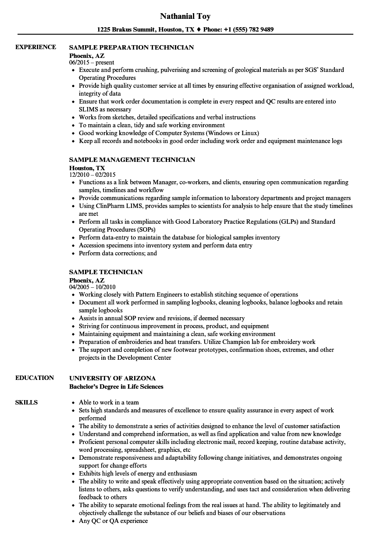 sample technician resume samples