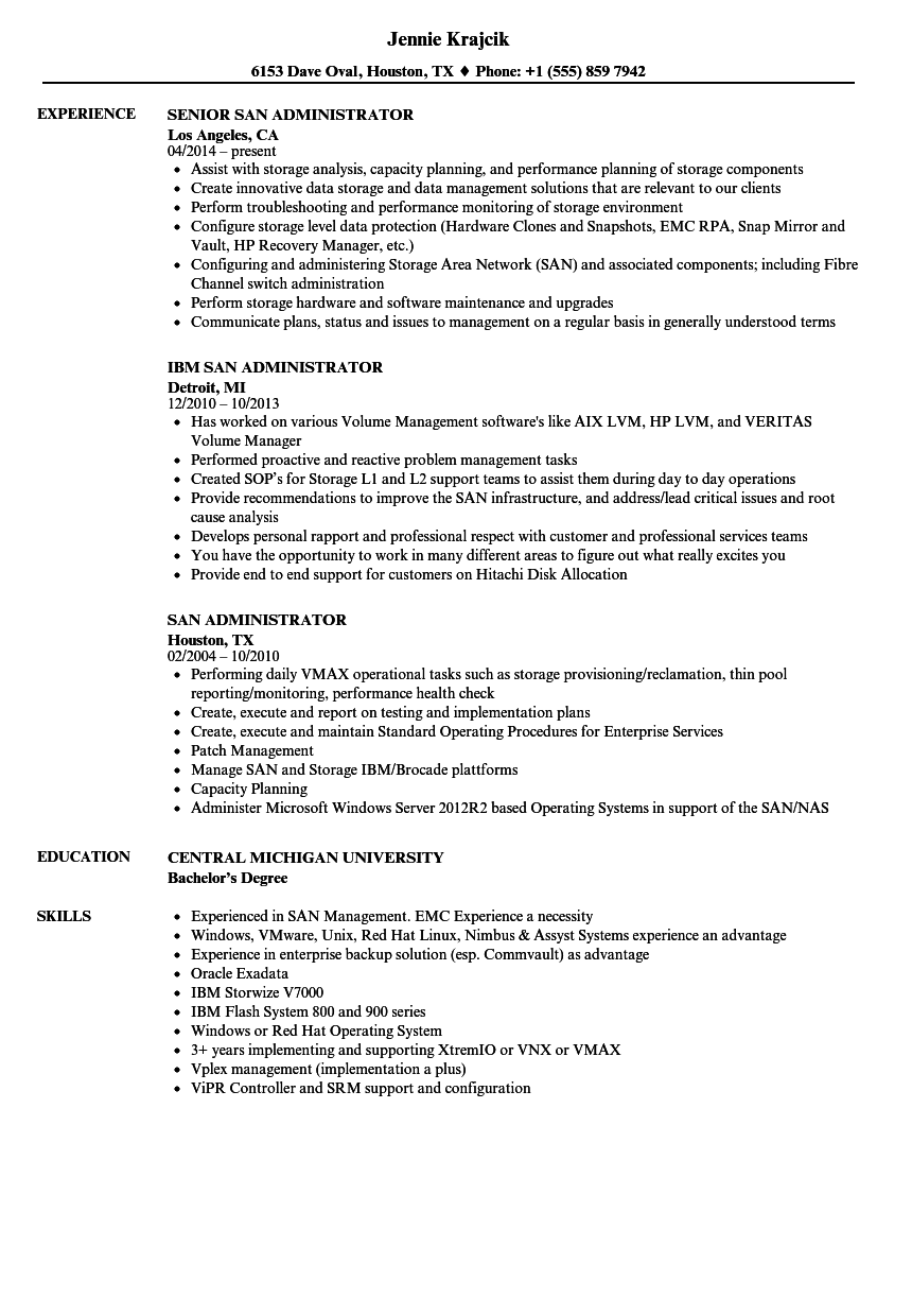 SAN Administrator Resume Samples | Velvet Jobs