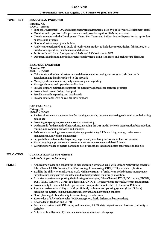 SAN Engineer Resume Samples   Velvet Jobs