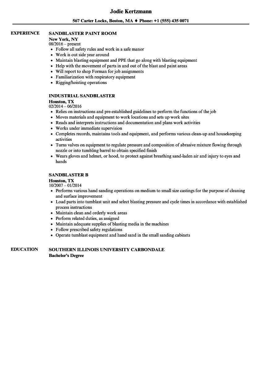 sandblaster resume samples