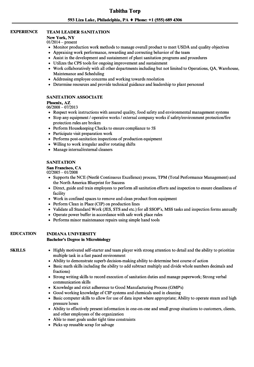 Sanitation Resume Samples | Velvet Jobs