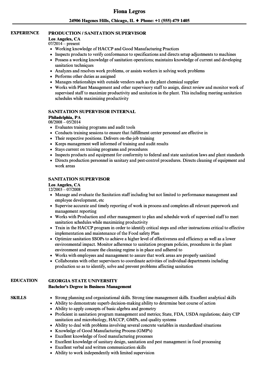 Sanitation Supervisor Resume Samples | Velvet Jobs