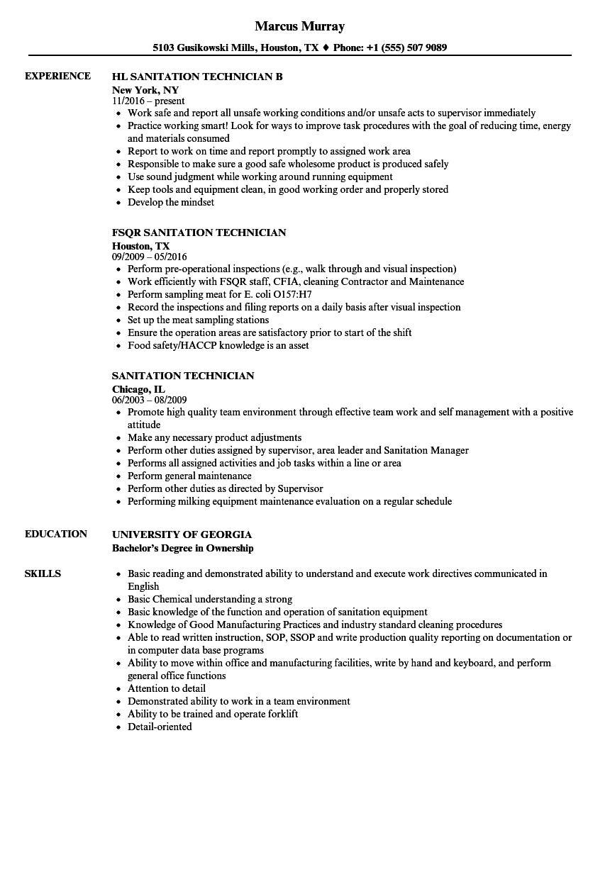 sanitation technician resume samples