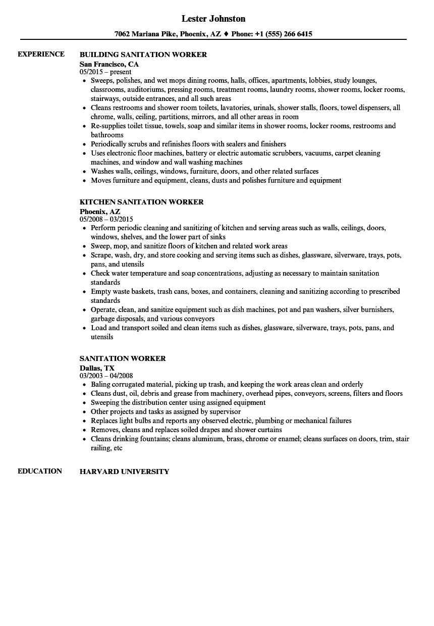 Sanitation resume