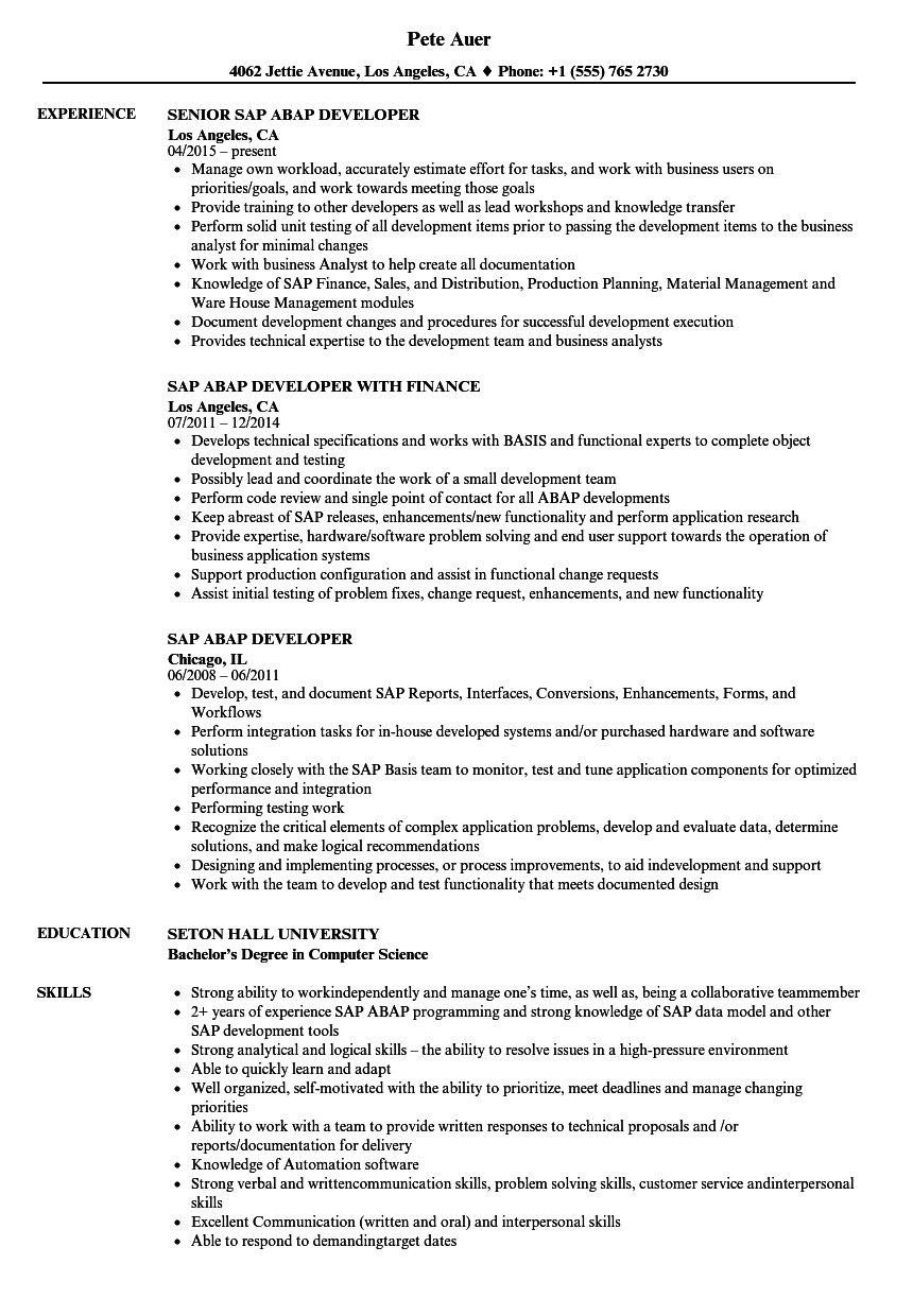 SAP Abap Developer Resume Samples | Velvet Jobs
