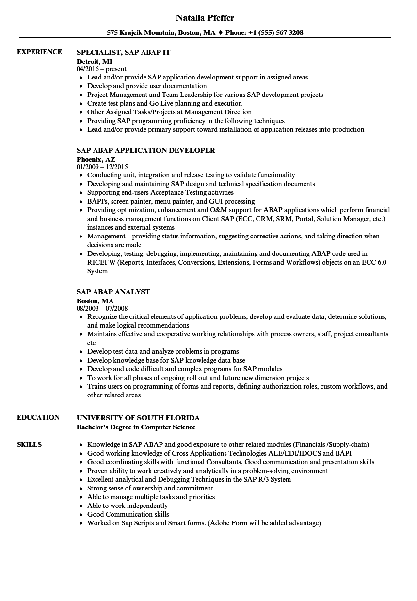 Sap Abap Resume Samples | Velvet Jobs