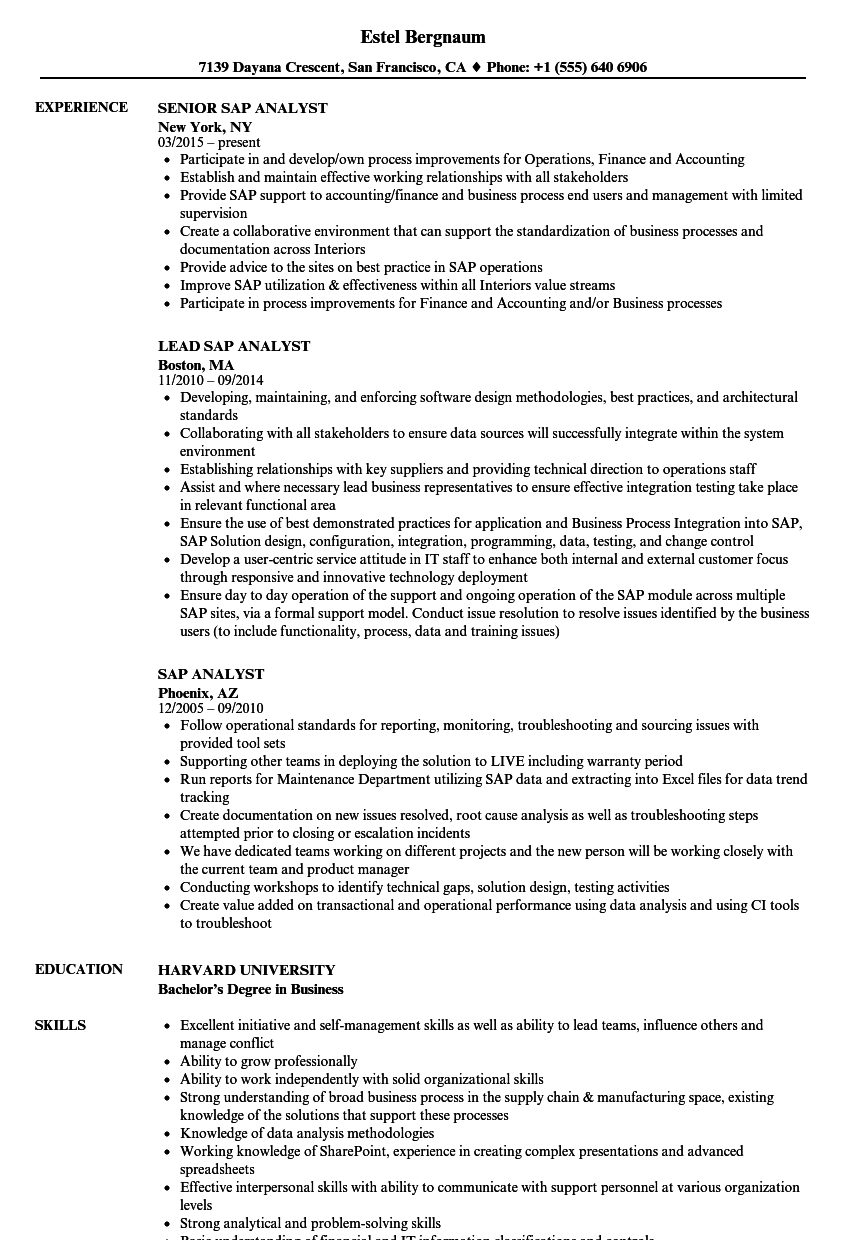 SAP Analyst Resume Samples | Velvet Jobs