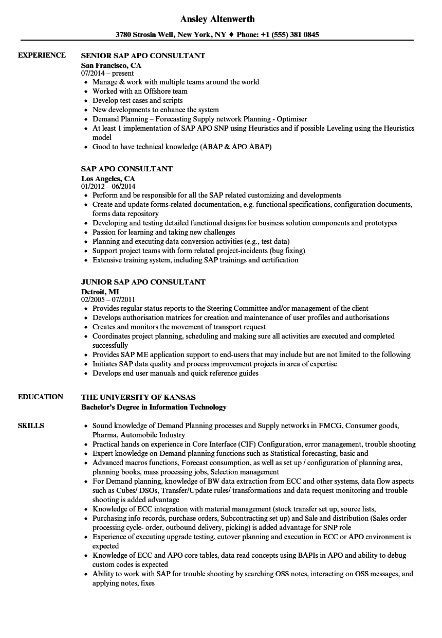 SAP APO Resume Samples | Velvet Jobs