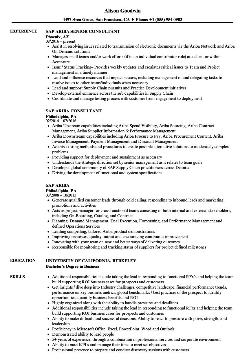 SAP Ariba Resume Samples | Velvet Jobs