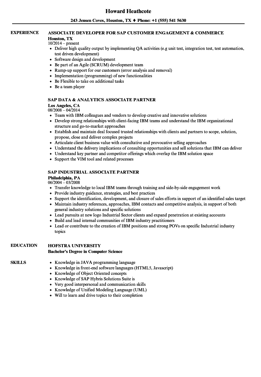 SAP Associate Resume Samples | Velvet Jobs