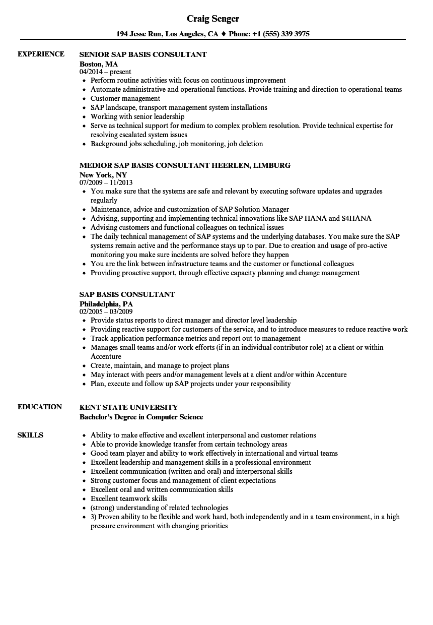 Sap Basis Consultant Resume Samples Velvet Jobs