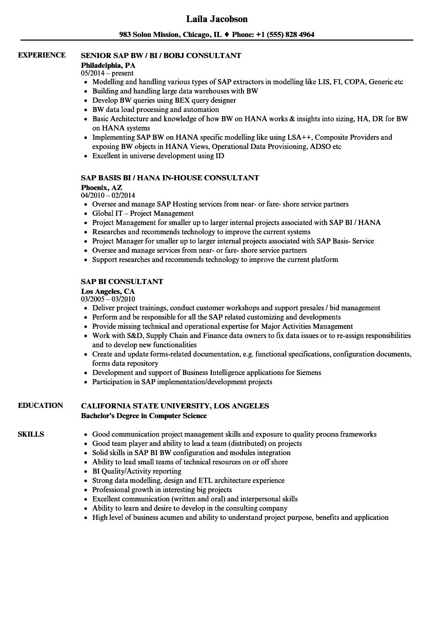 SAP BI Consultant Resume Samples | Velvet Jobs