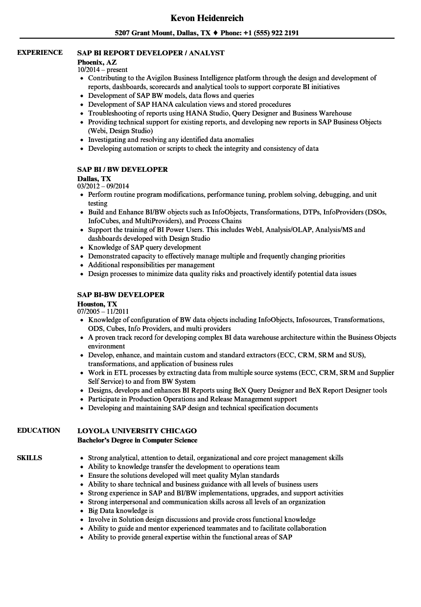 SAP BI Resume Samples | Velvet Jobs