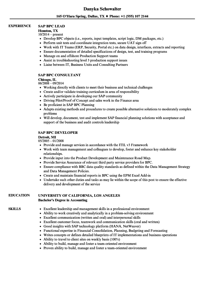 Sap Bpc Resume Samples | Velvet Jobs