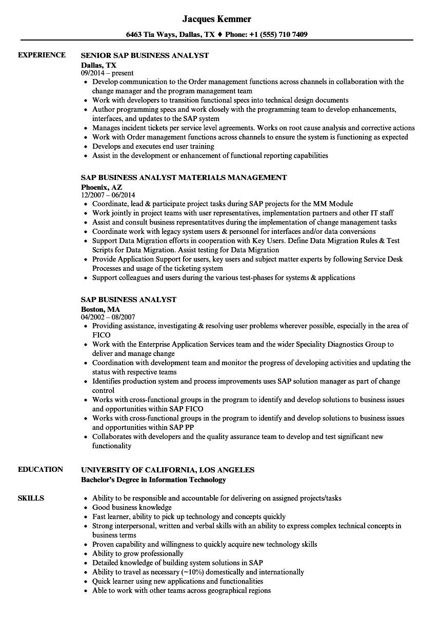 SAP Business Analyst Resume Samples | Velvet Jobs