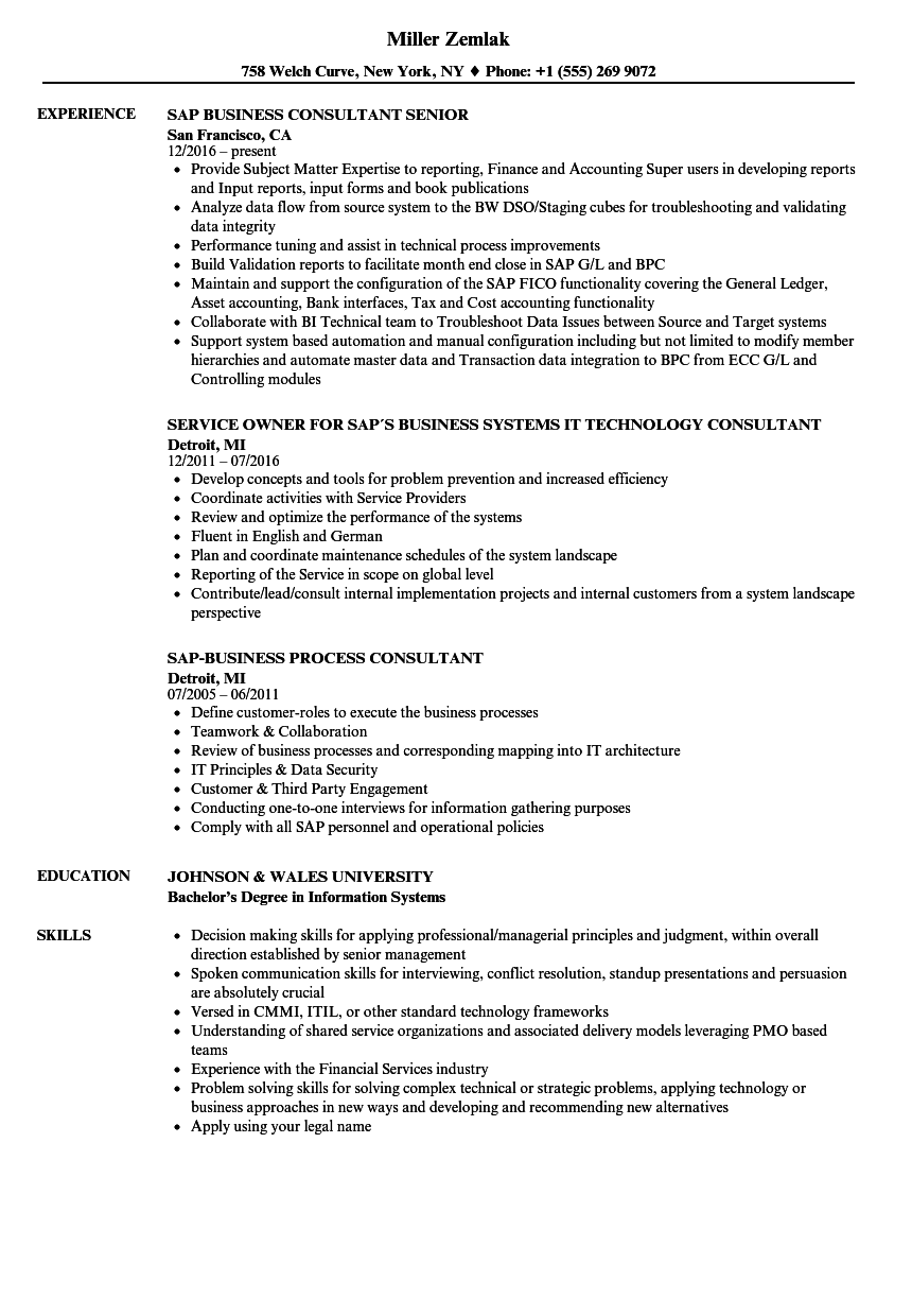Download SAP Business Consultant Resume Sample As Image File