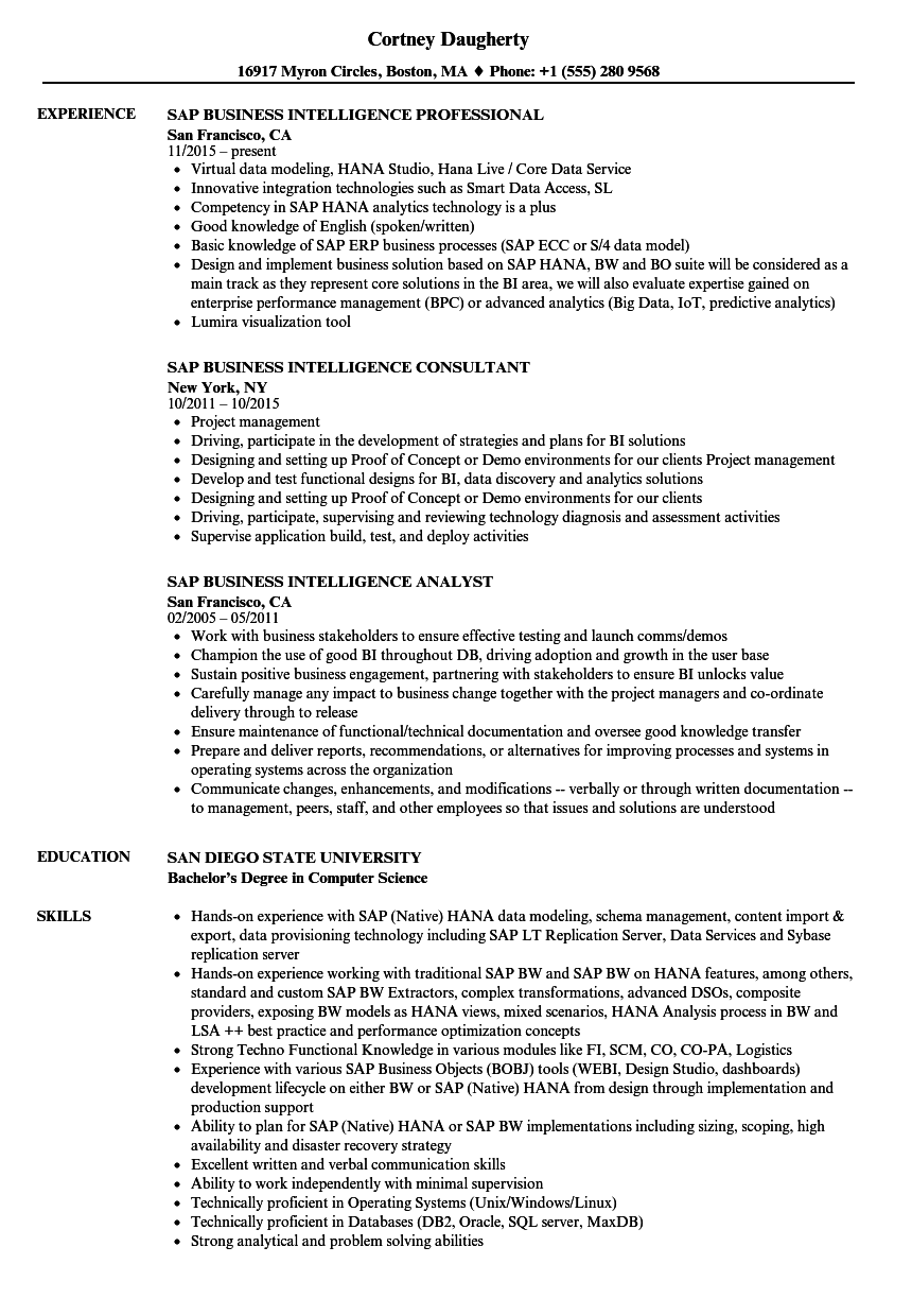 Business Intelligence Sample Resume | sap business intelligence resume sample