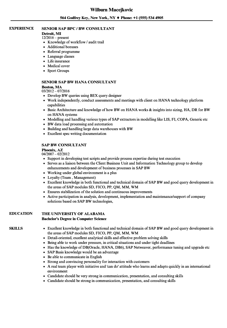SAP BW Consultant Resume Samples | Velvet Jobs
