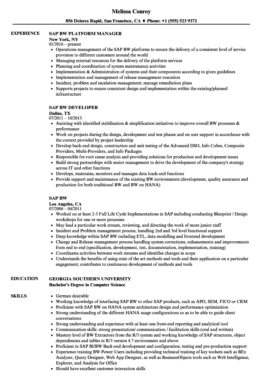 Sap Bw Resume Samples | Velvet Jobs