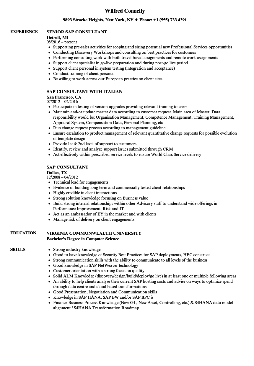 sap consultant resume samples