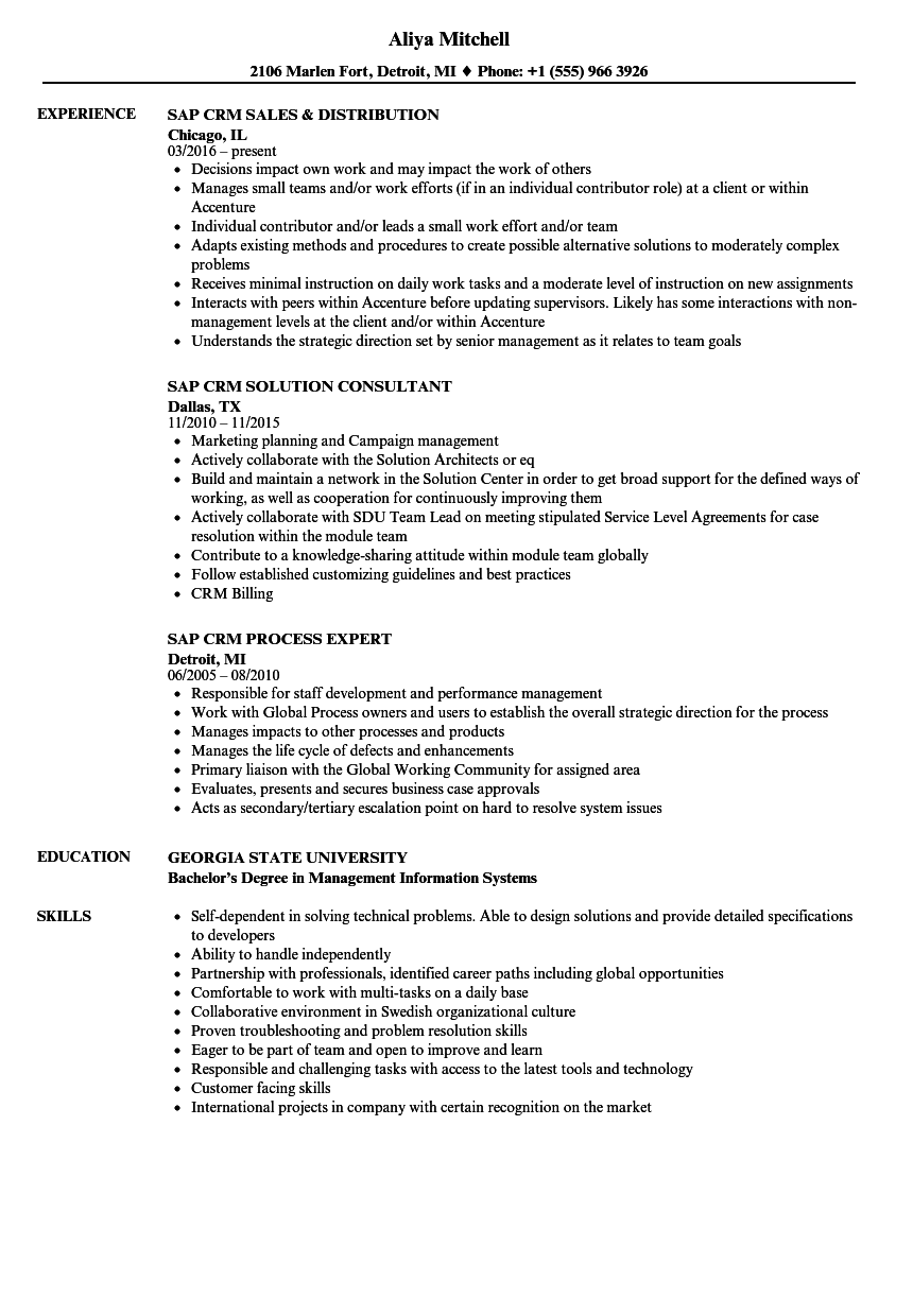 Sap Crm Resume Samples | Velvet Jobs