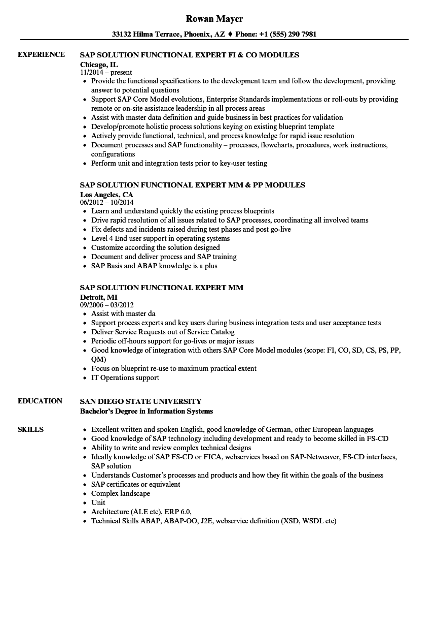 SAP Expert Resume Samples | Velvet Jobs