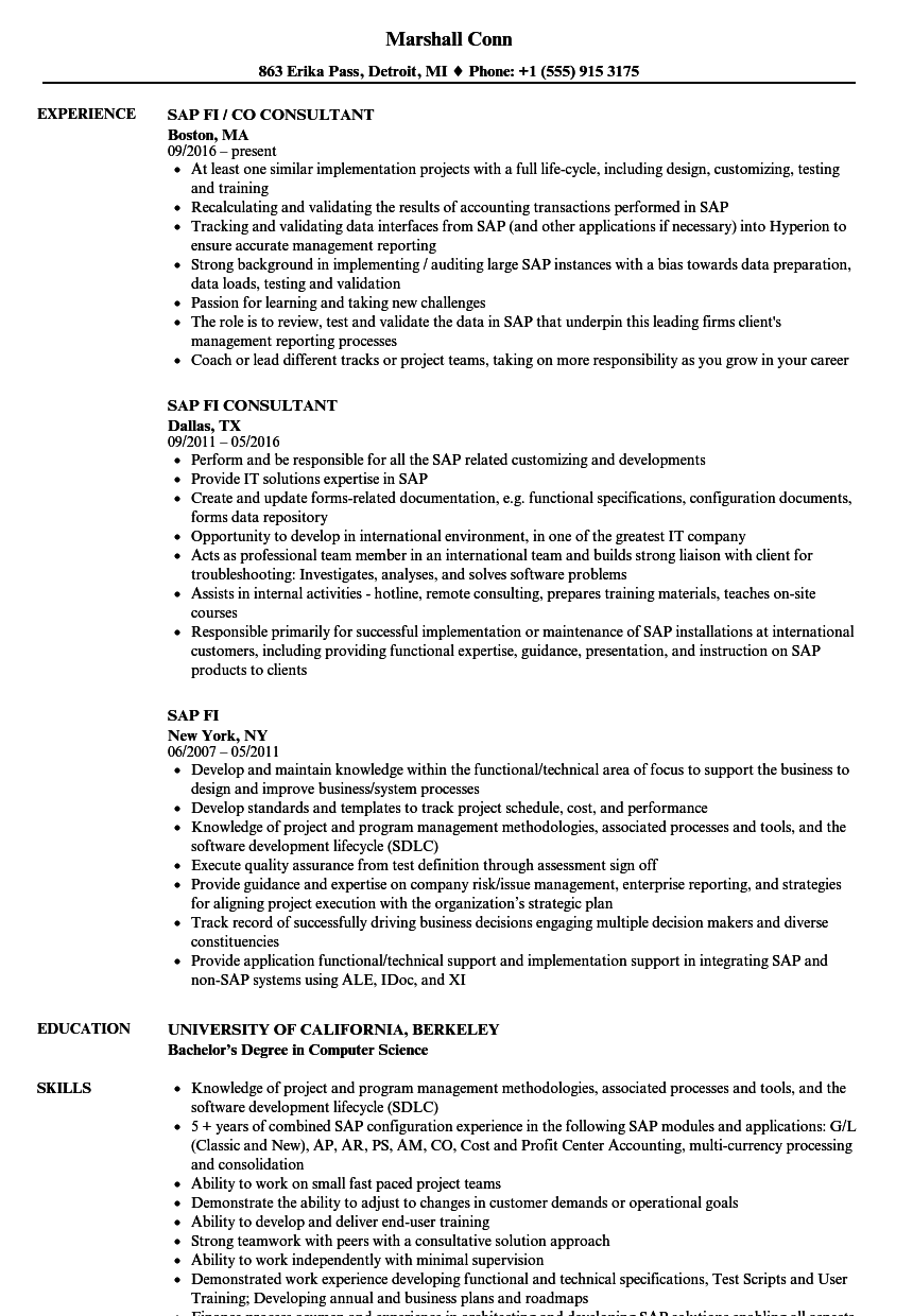sap fi resume samples