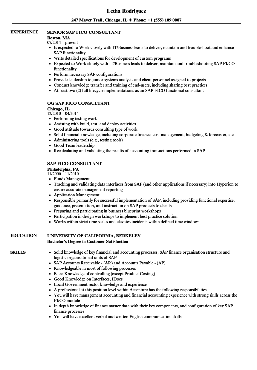 SAP Fico Consultant Resume Samples | Velvet Jobs