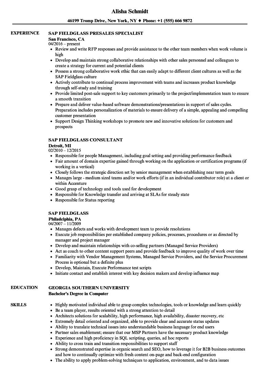 sap fieldglass resume samples