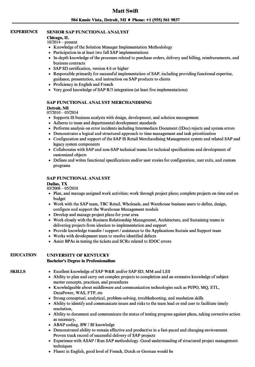 SAP Functional Analyst Resume Samples | Velvet Jobs