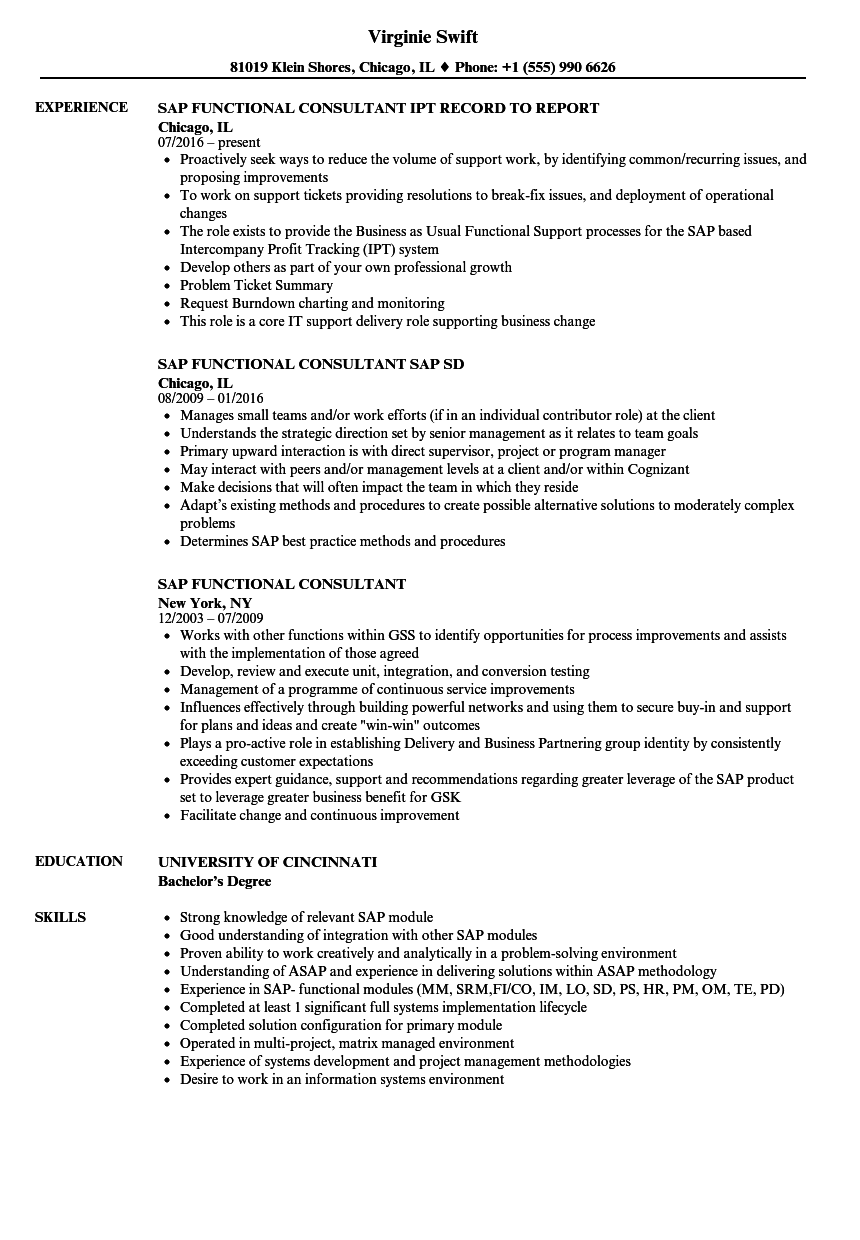 sap functional consultant resume samples