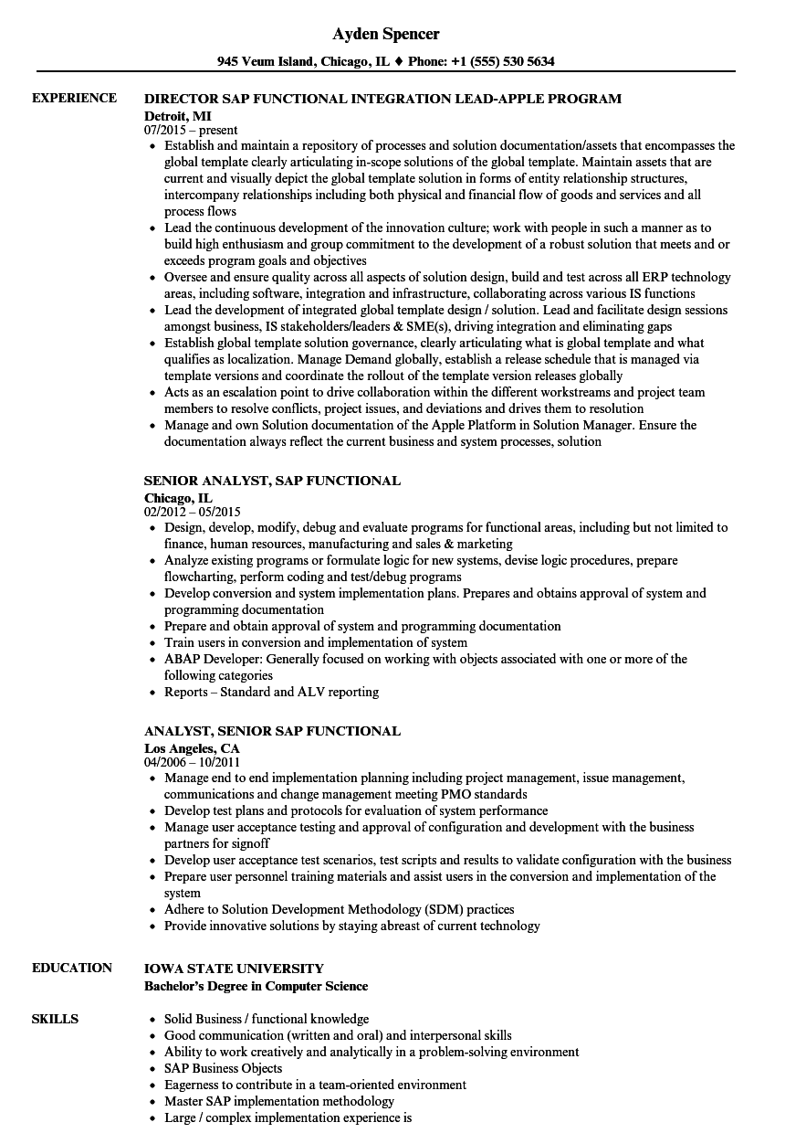 SAP Functional Resume Samples | Velvet Jobs