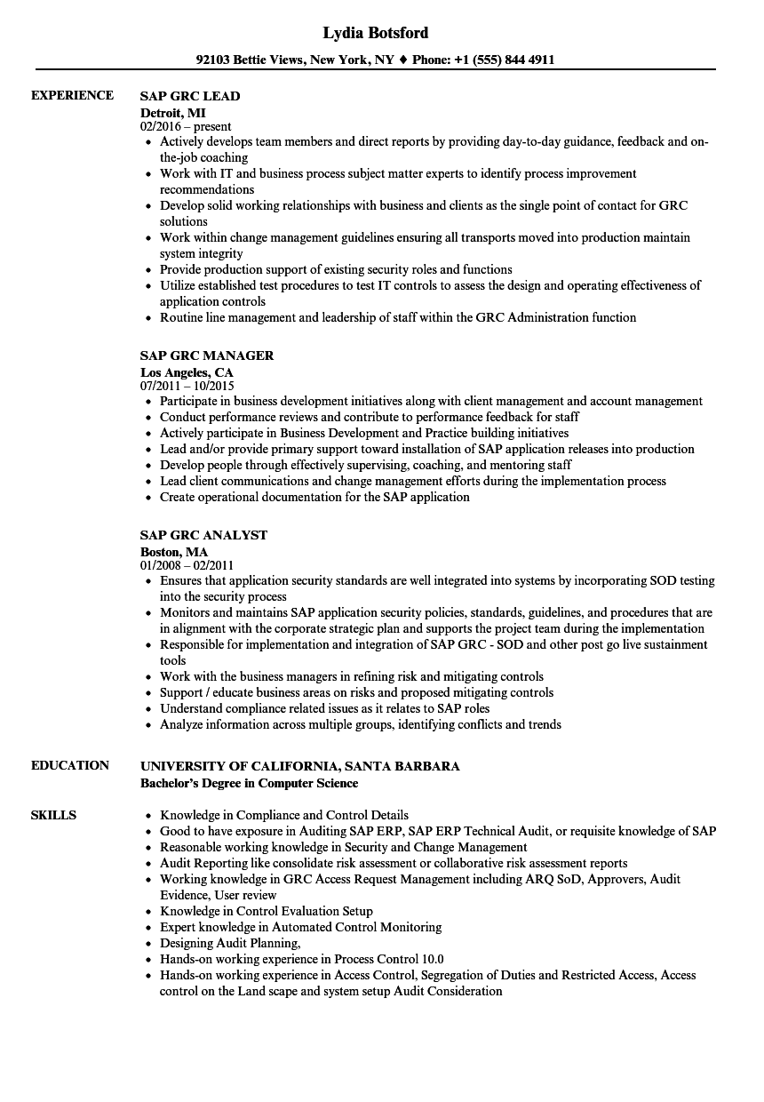 SAP GRC Resume Samples | Velvet Jobs