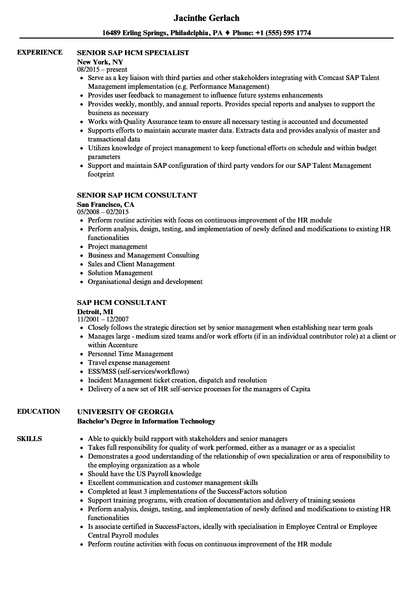 sap hcm resume samples