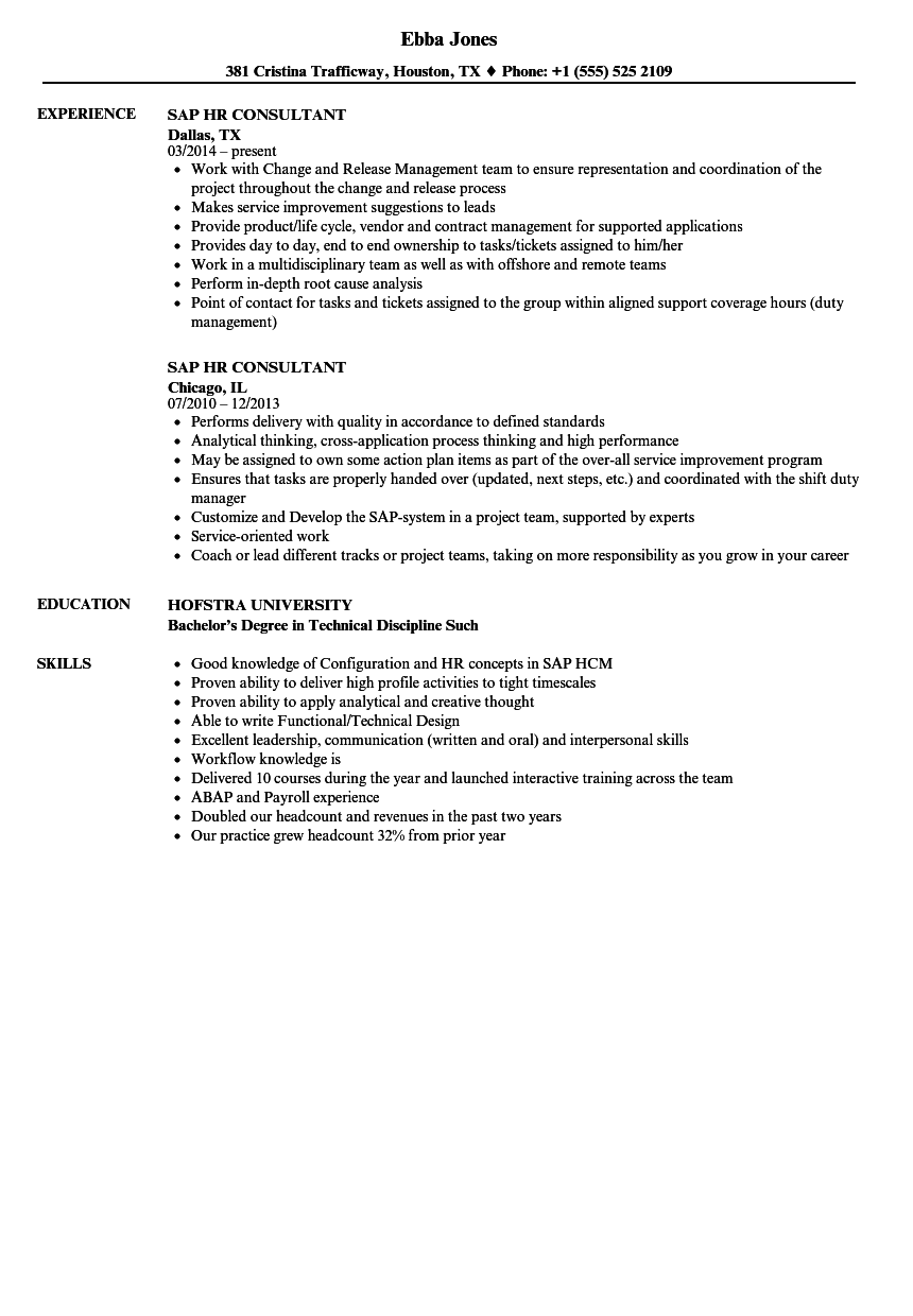 Sap HR Consultant Resume Samples | Velvet Jobs