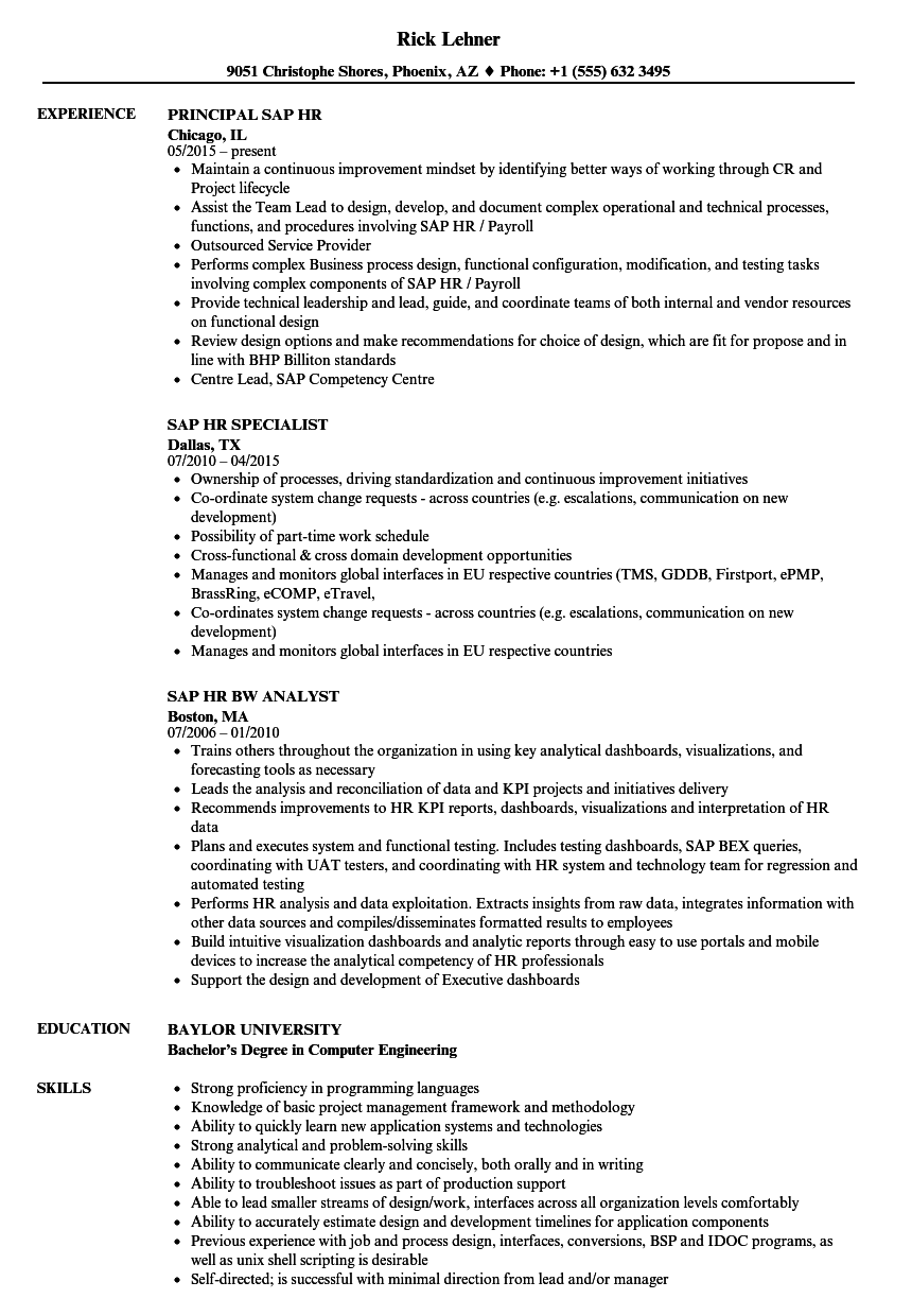 sap hr resume samples