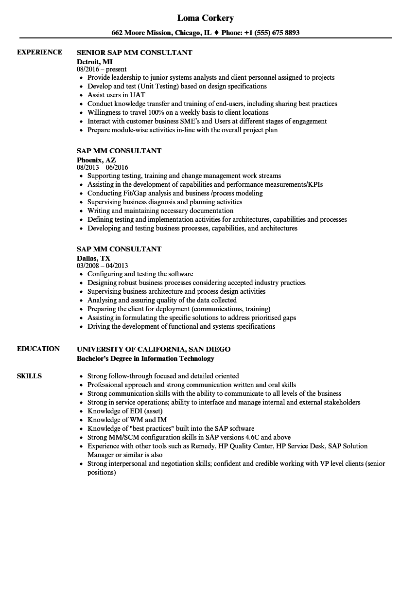 sap mm consultant resume samples