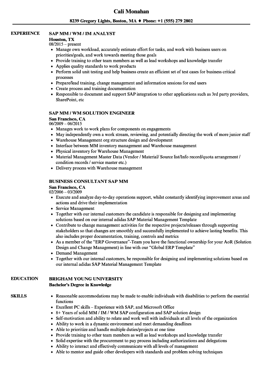 Sap Mm Resume Samples | Velvet Jobs