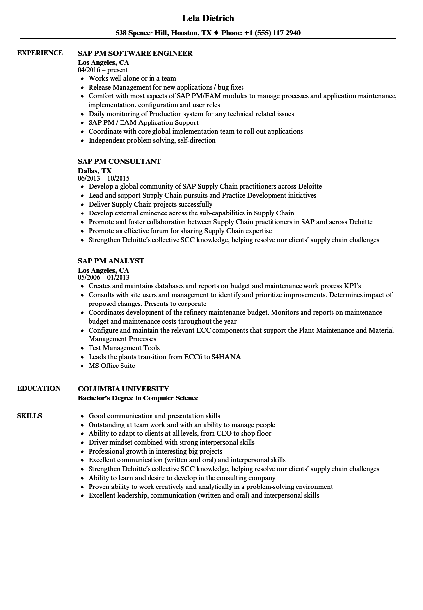 SAP PM Resume Samples | Velvet Jobs