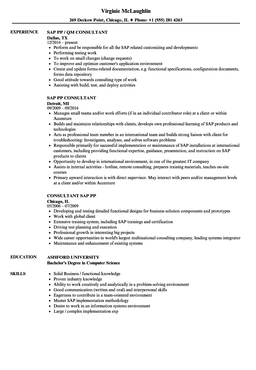Sap Pp Resume Samples | Velvet Jobs