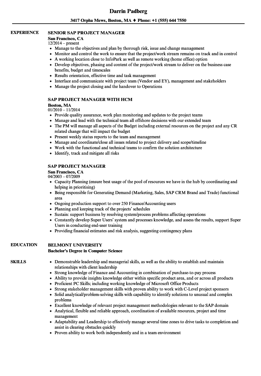 SAP Project Manager Resume Samples | Velvet Jobs